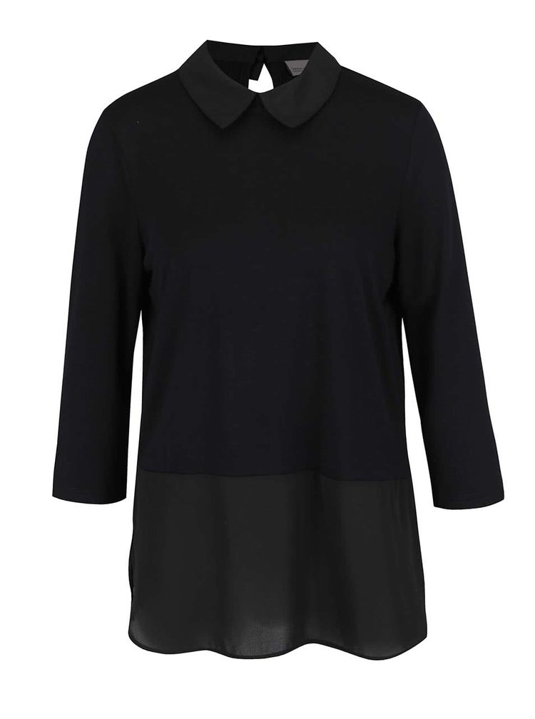 Bluză neagră Vero Moda Kacy cu aspect 2în1 și guler clasic
