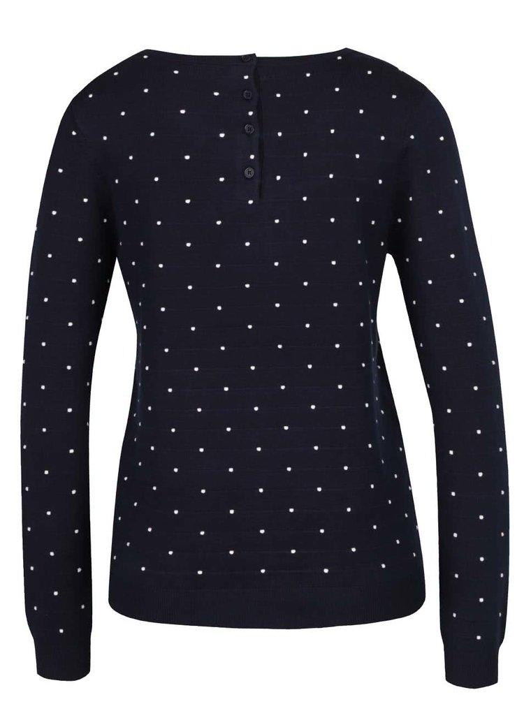 Tmavě modrý puntíkovaný svetr s knoflíky na zádech Vero Moda Glory
