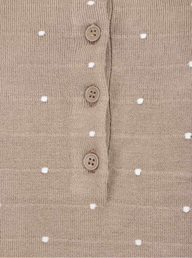 Béžový puntíkovaný svetr s knoflíky na zádech Vero Moda Glory