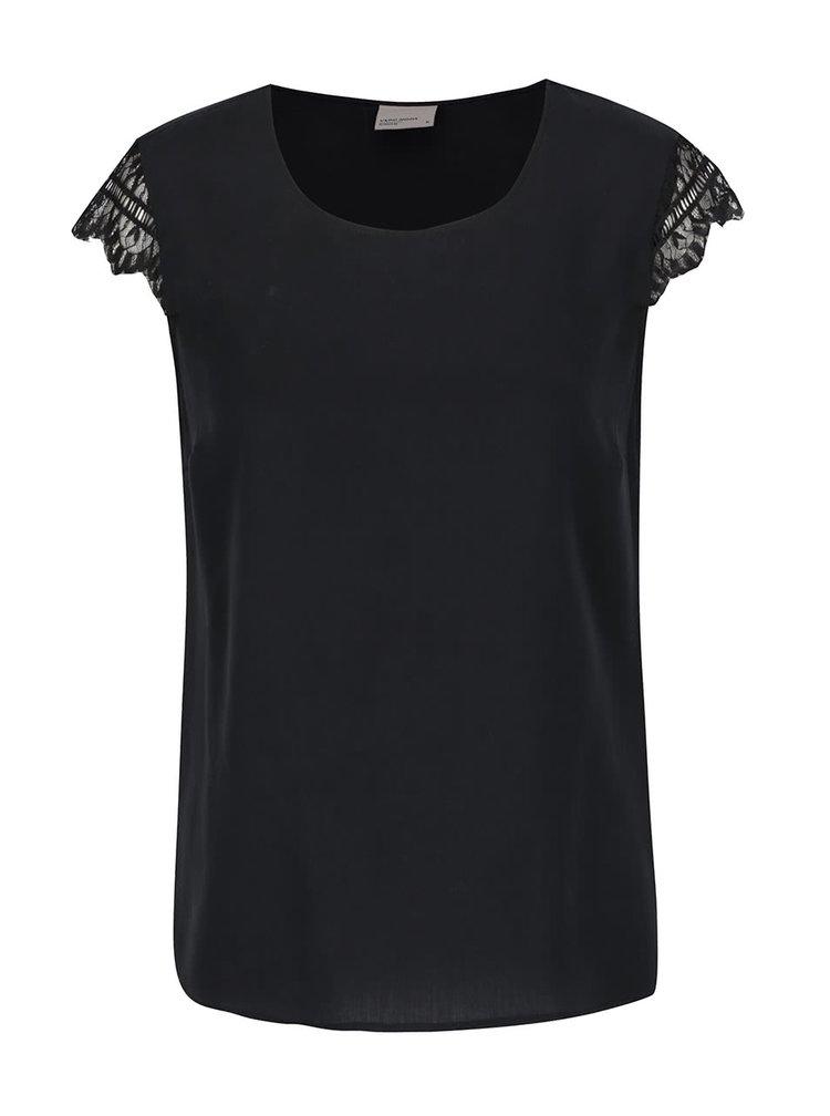 Černé tričko s krátkým rukávem a krajkou VERO MODA Green