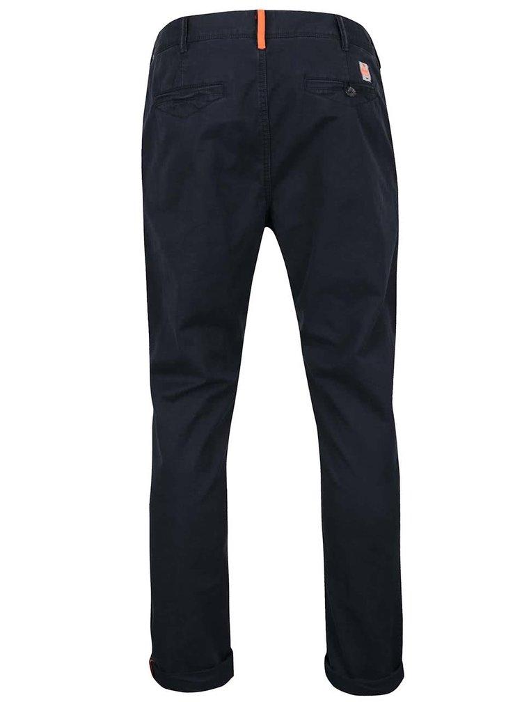 Pantaloni chino albastru inchis Superdry din bumbac
