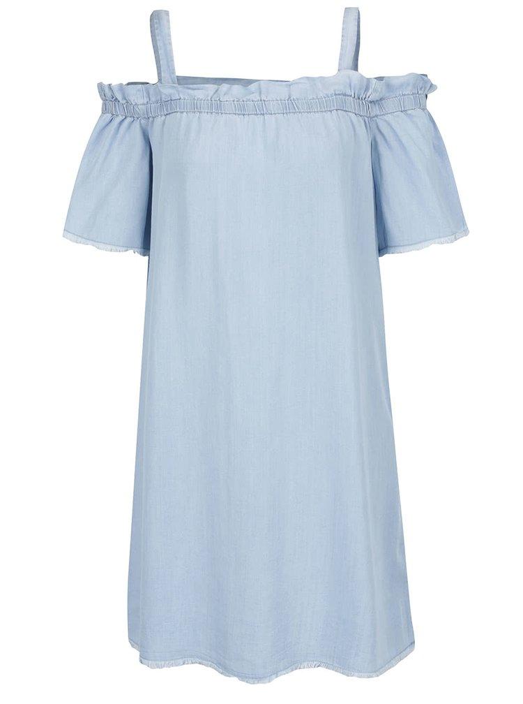 Rochie albastră din denim subțire Noisy May Endi cu decolteu pe umeri