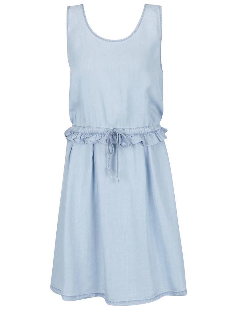Modré volné džínové šaty s volánem Noisy May Endi