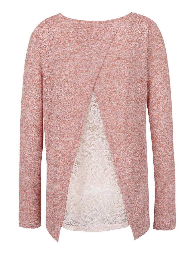 Bluză roz melanj VERO MODA cu inserție din dantelă