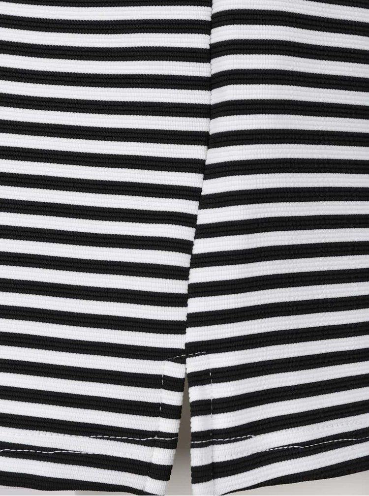 Černo-bílé volné pruhované šaty s límečkem VERO MODA Kay