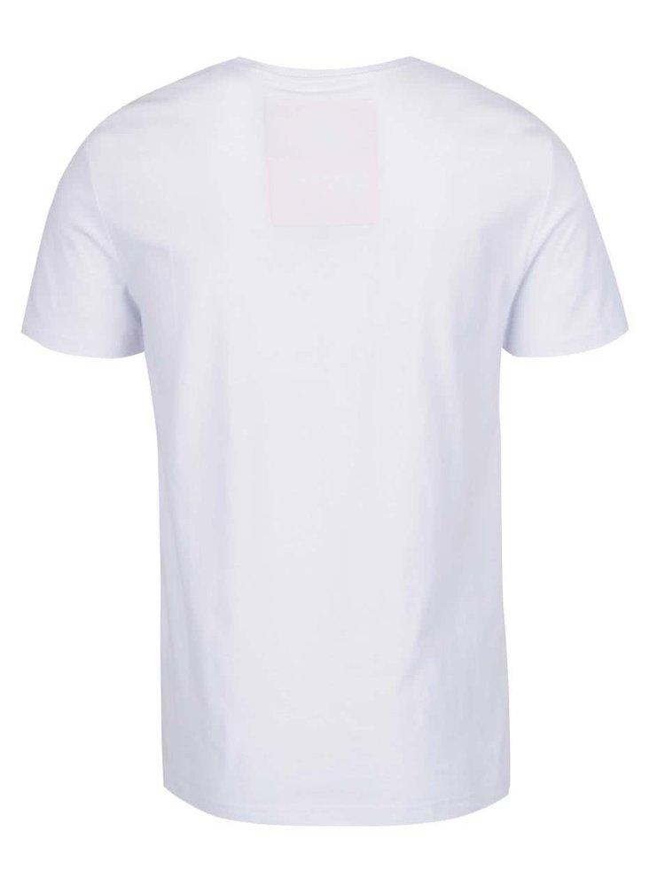 Bílé pánské triko s potiskem a kapsou Superdry