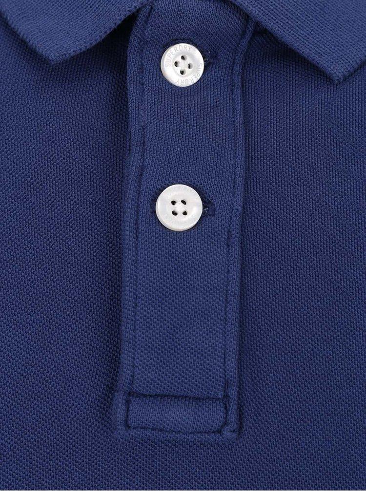 Tricou polo albastru Superdry din bumbac cu logo