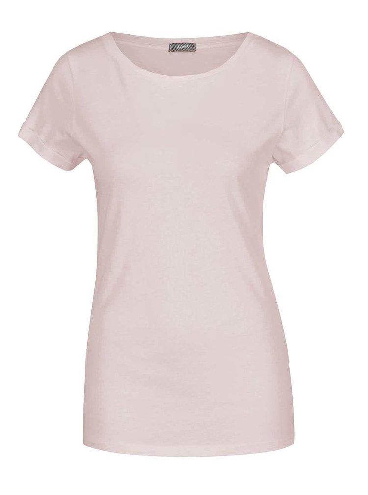 Světle růžové basic tričko s krátkým rukávem ZOOT
