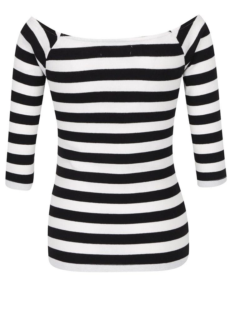 Bluza crem&negru din jerseu subtire VERO MODA Bal cu decolteu pe umeri