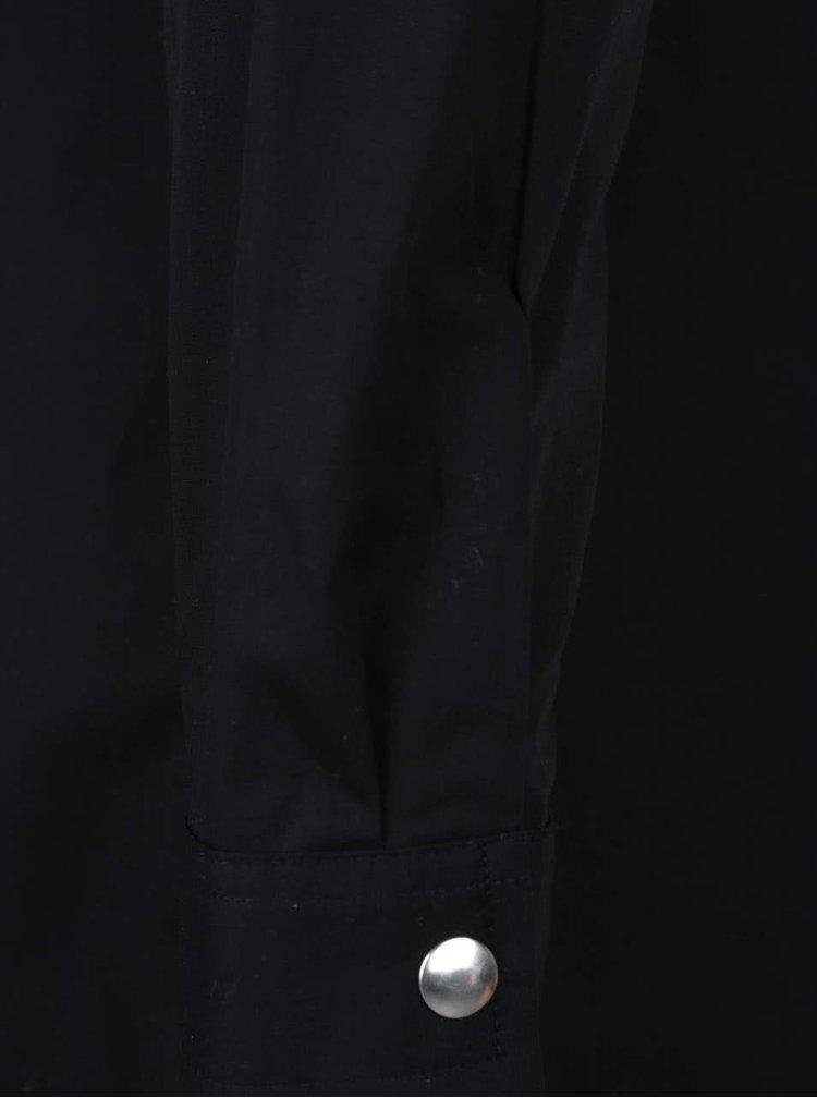 Bluza lunga neagra Noisy May Noami cu decolteu pe umeri si capse