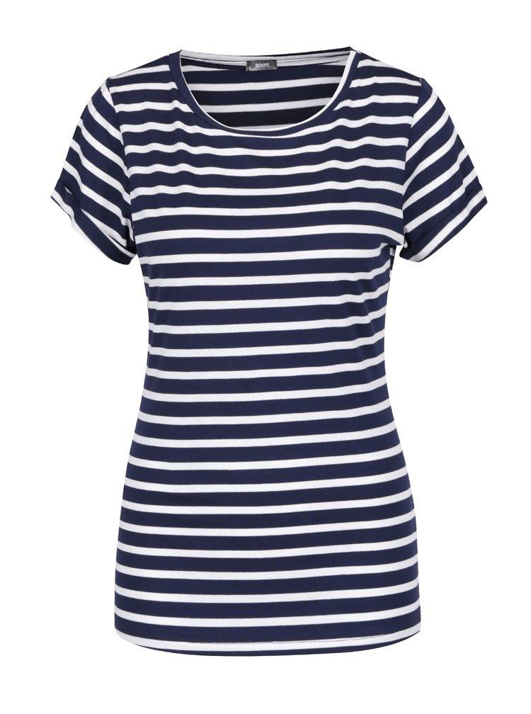 Krémovo-modré pruhované tričko s krátkym rukávom ZOOT