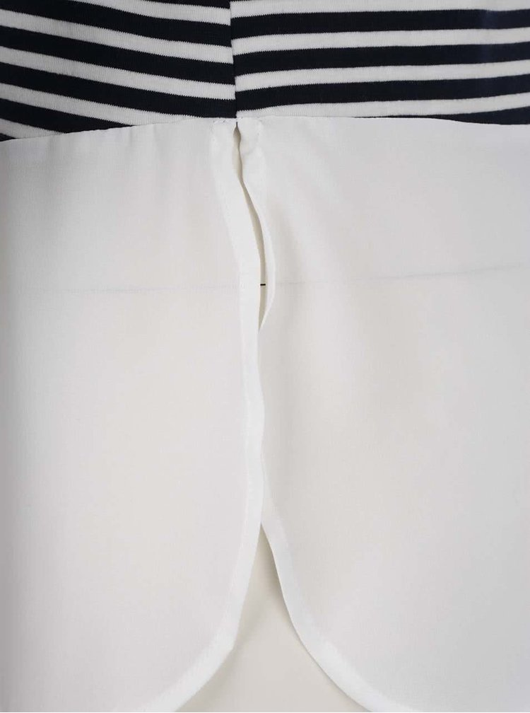 Bluză crem&bleumarin Vero Moda Kacy cu aspect 2în1 și guler clasic