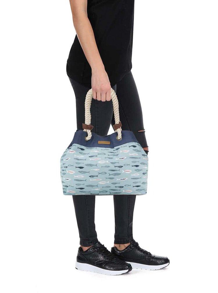 Geantă shopper albastru deschis Brakeburn cu model