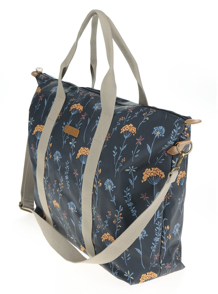 Tmavě modrá květovaná cestovní taška Brakeburn