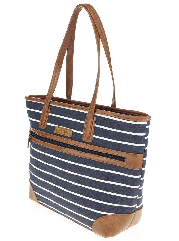 Bílo-modrá pruhovaná kabelka Brakeburn