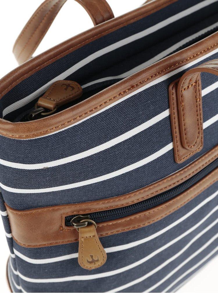 Geantă albastru & alb Brakeburnd cu model în dungi și detalii maro