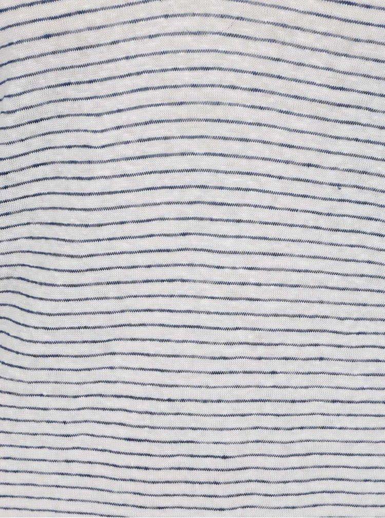 Modro-krémové pruhované lněné tričko VILA Monia