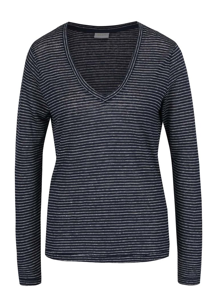 Bílo-modré pruhované lněné tričko VILA Monia