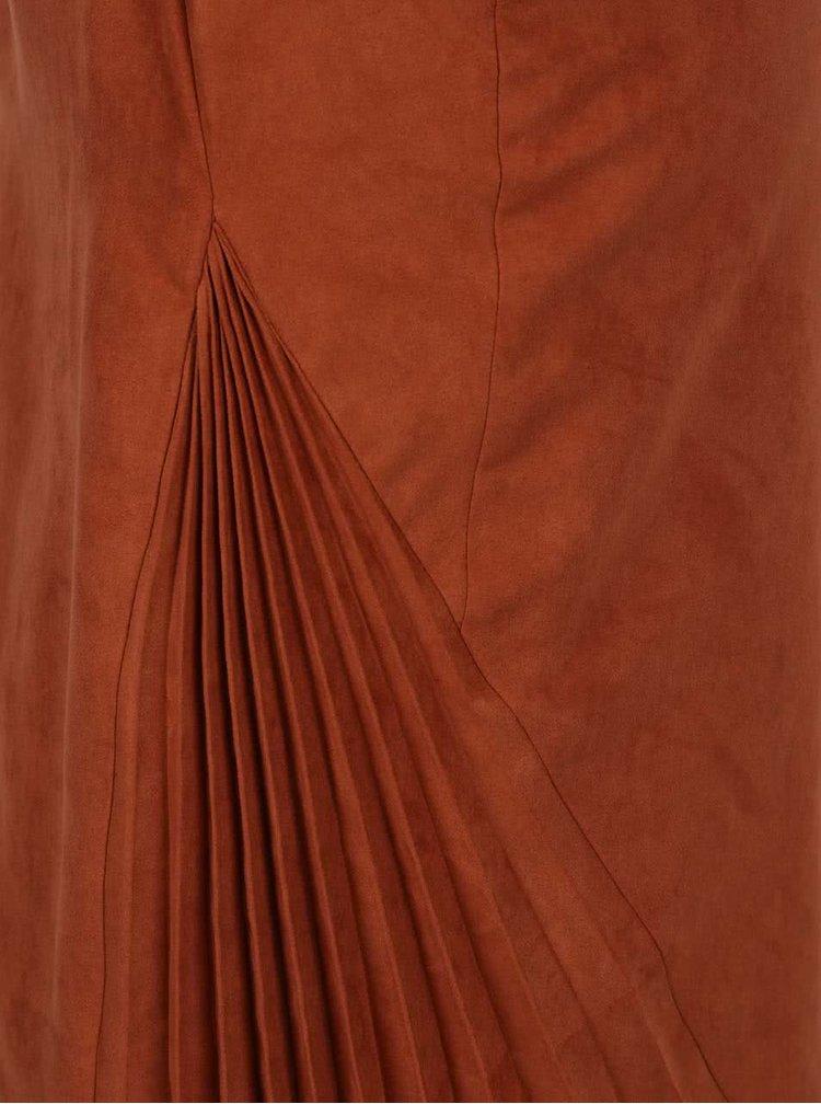 Fustă maro conică Idol Ray cu fermoar și detalii plisate