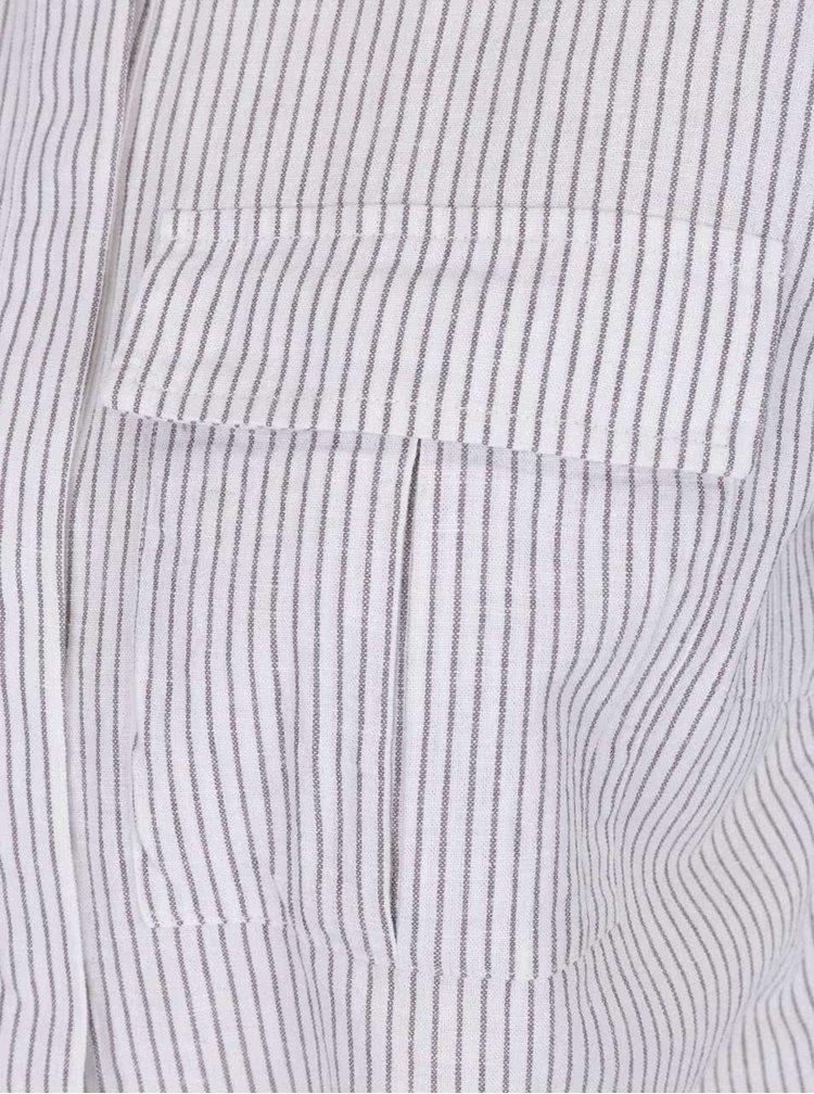 Cămașă crem & gri VILA Rosettan cu model în dungi și panglici