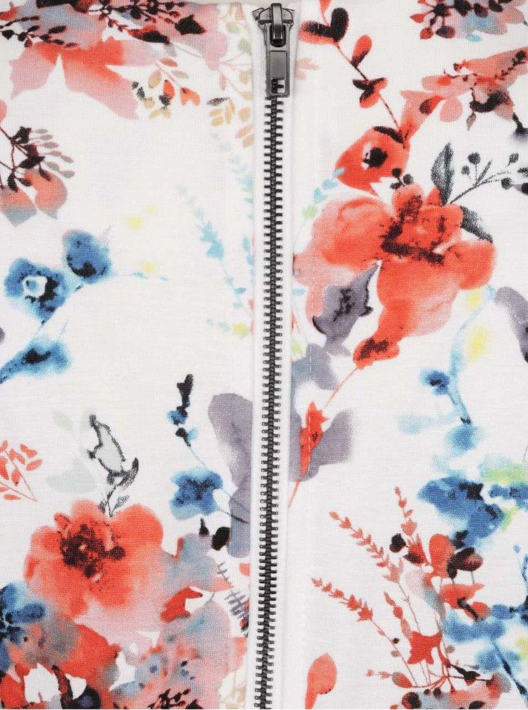 Krémové květované šaty s 3/4 rukávem VILA Tinny