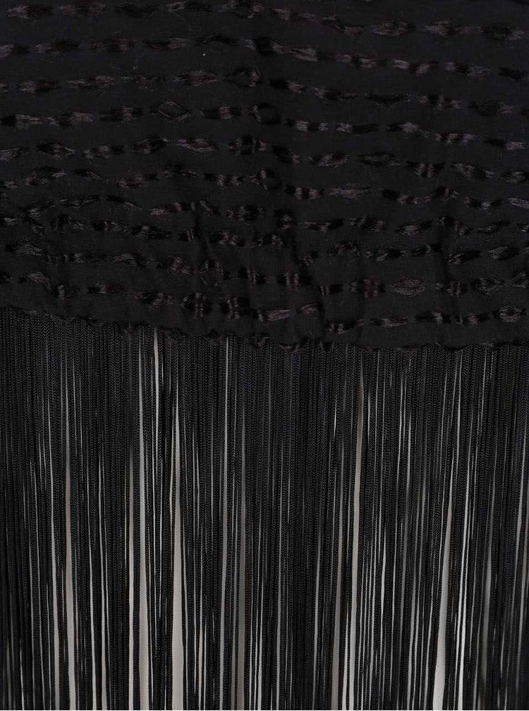 Černý crop top s třásněmi Idol Ray