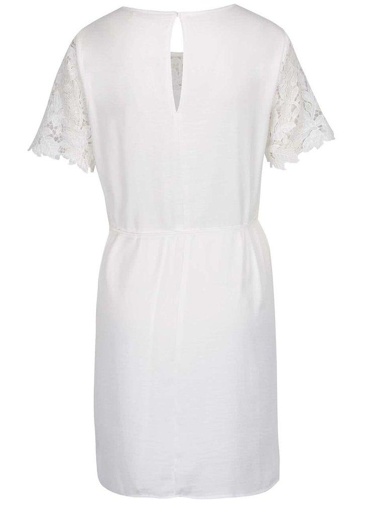 Krémové šaty s krajkovým sedlem a rukávy VILA Melli