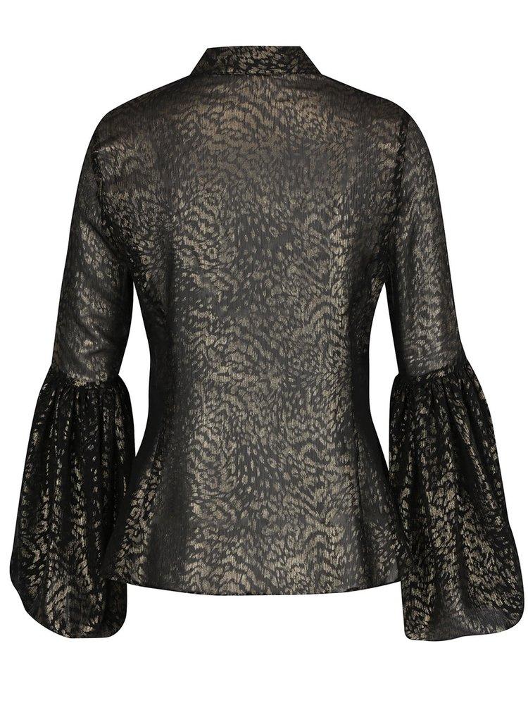 Černá halenka s leopardím vzorem Idol Ray