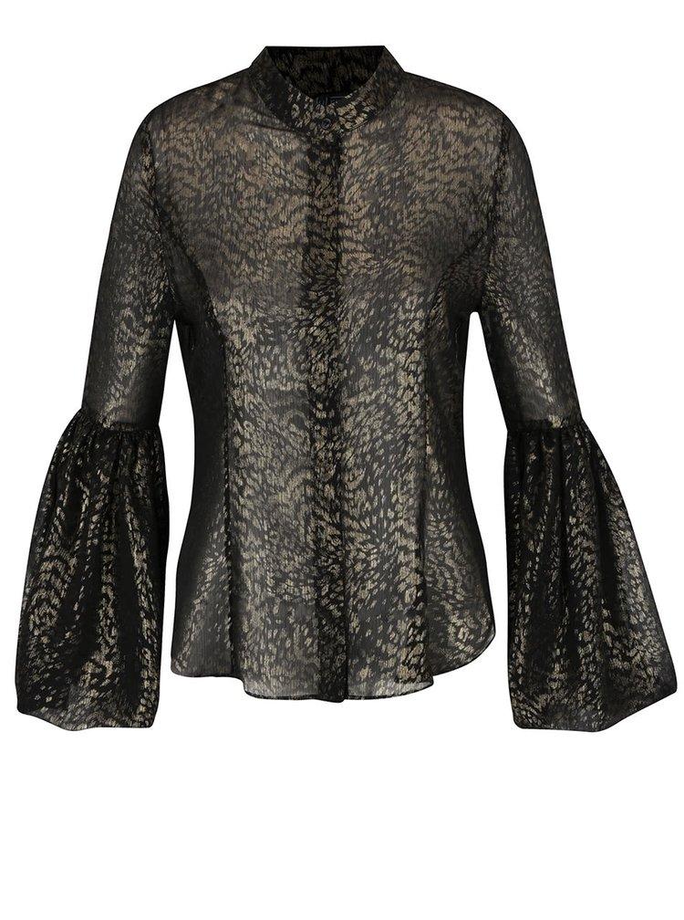 Bluză neagră semitransparentă Idol Ray cu animal print auriu și mâneci clopot