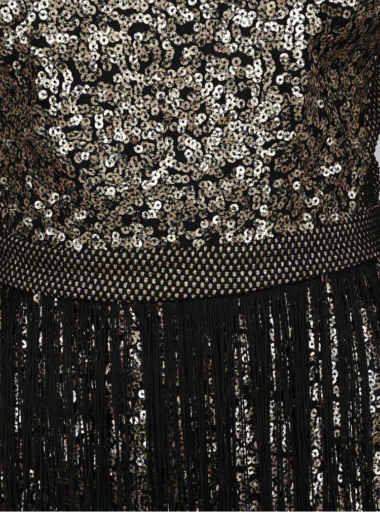 Rochie auriu&negru din brocart Idol Ray cu paiete si franjuri