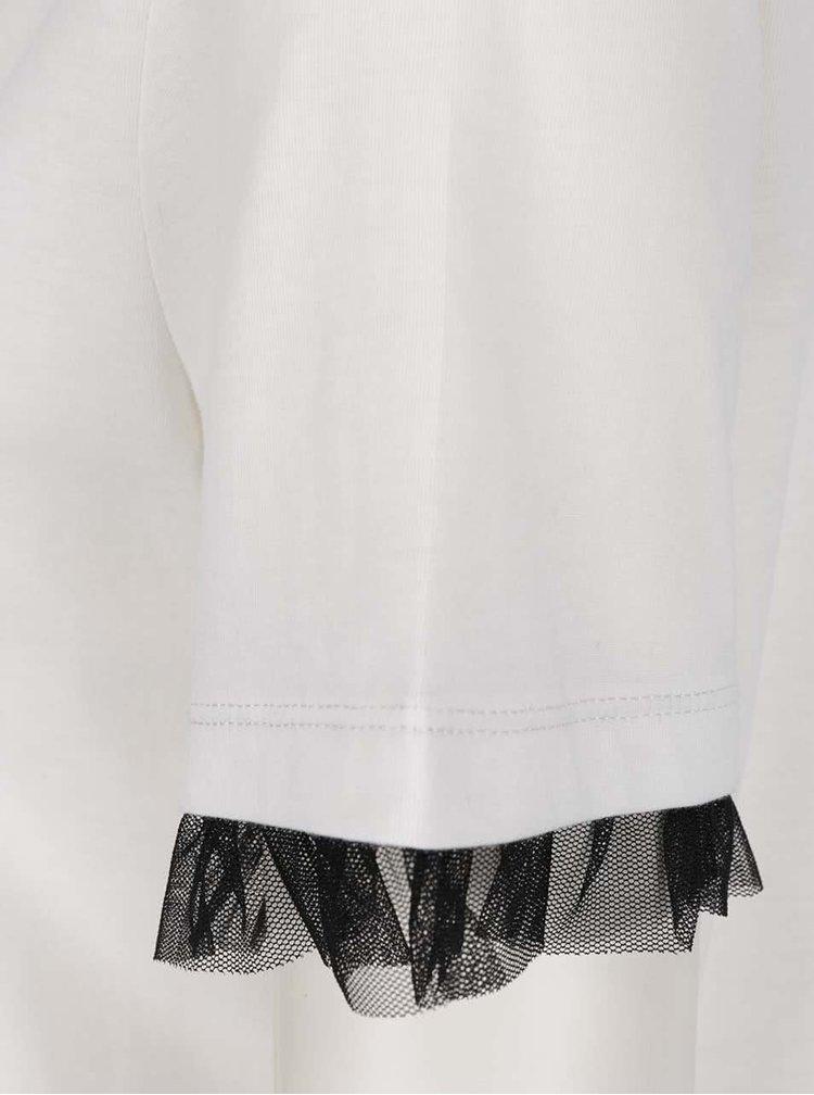 Krémové tričko s černými volány na rukávech VILA Dreamers