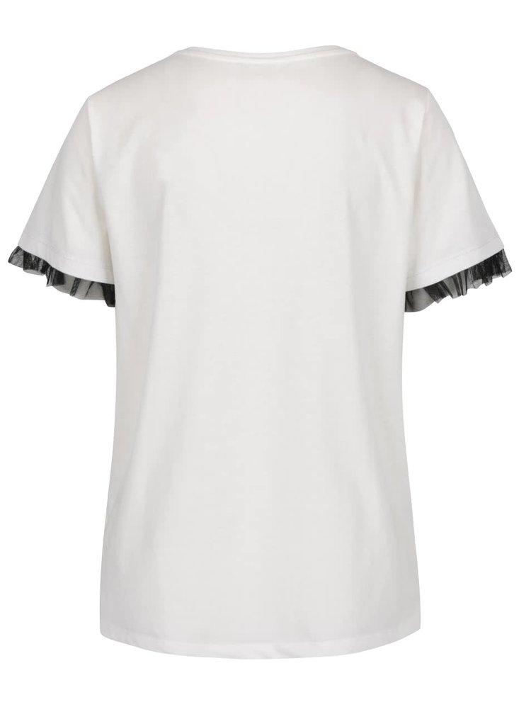 Bluză crem VILA Dreamers cu volane din tulle pe mâneci