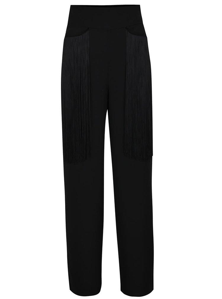 Pantaloni negri Idol Ray cu talie inalta si franjuri