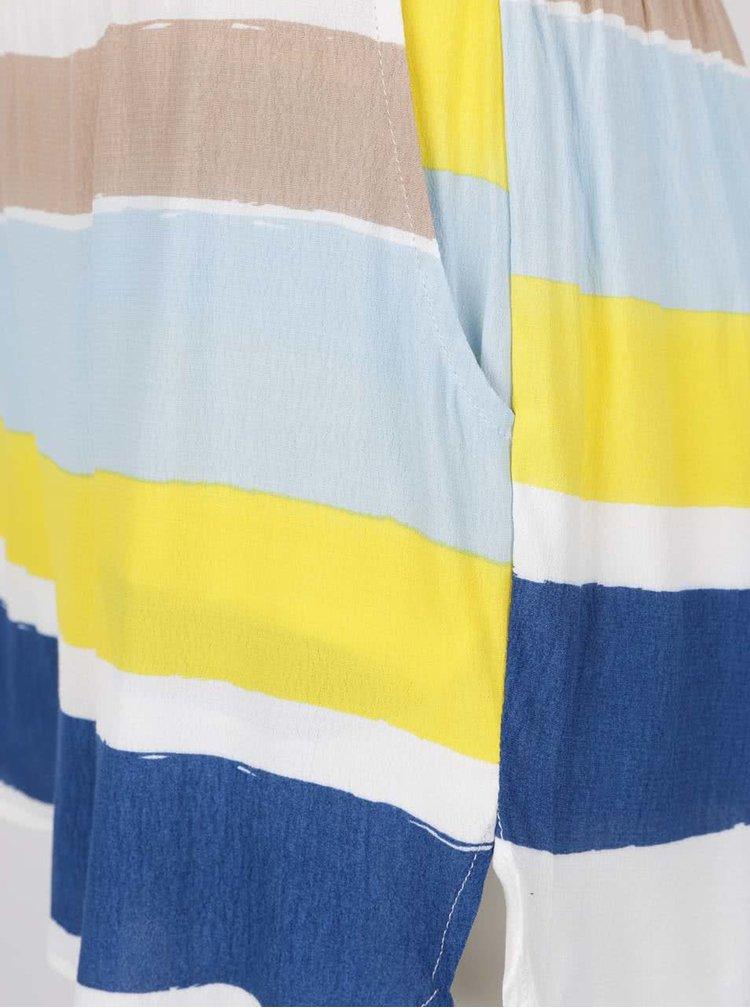 Pantaloni scurți albastru & galben VILA Nilas cu model în dungi