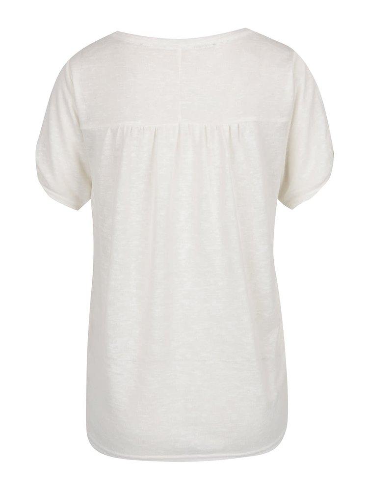 Krémové volné tričko s průstřihy na ramenou VILA Uran