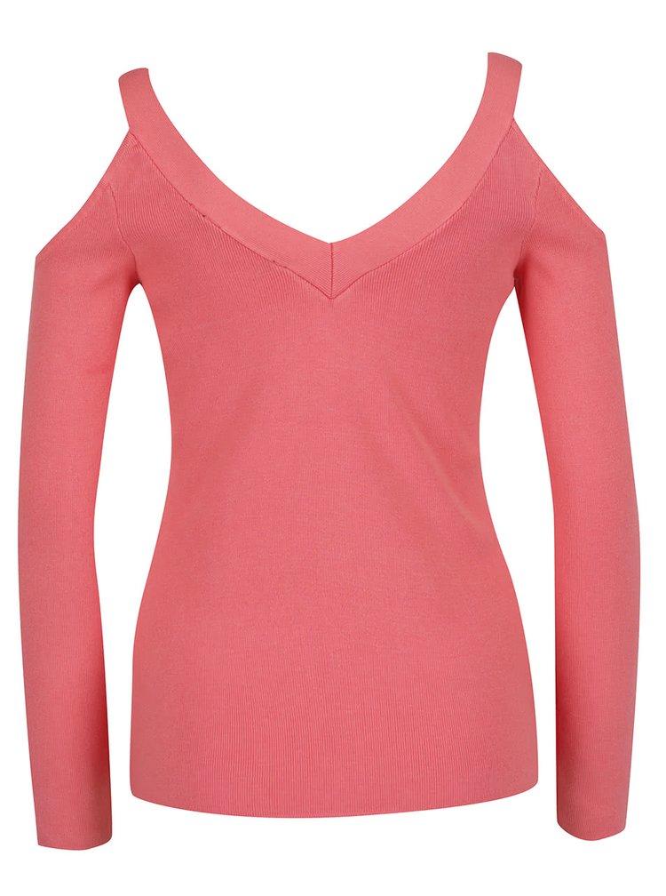 Růžový svetr s průstřihy na ramenou Dorothy Perkins