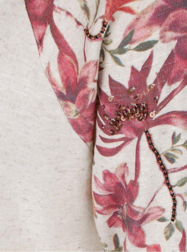 Bluza bej ONLY Dazzy cu imprimeu floral pe maneci si tiv asimetric