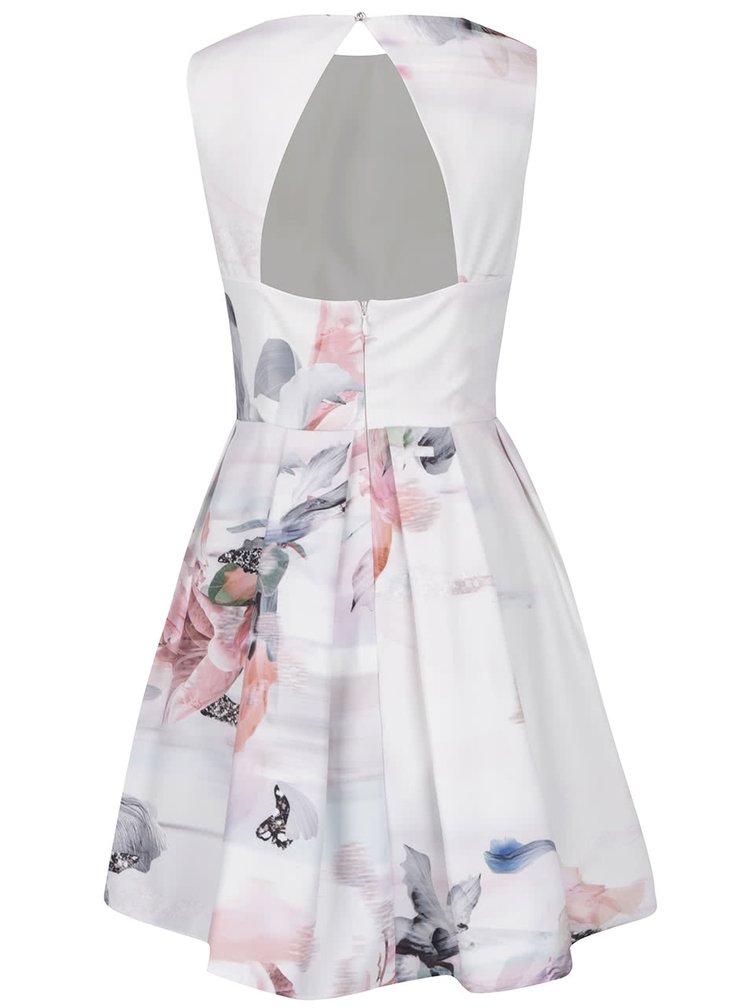 Rochie plisata crem cu print floral  Little Mistress