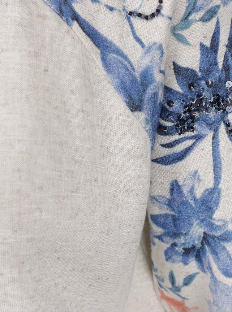 Krémovo-modré žíhané dlouhé tričko ONLY Dazzy