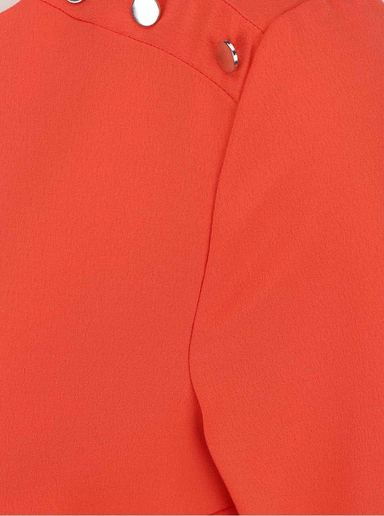 Oranžová halenka s detaily na ramenou Dorothy Perkins