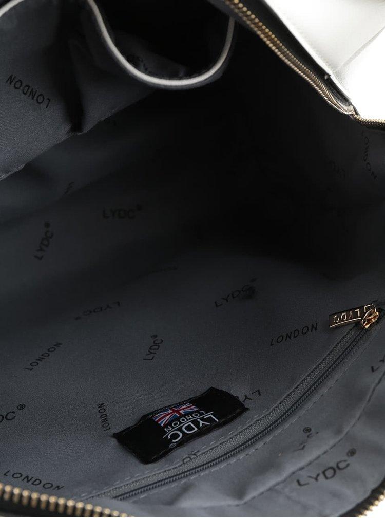 Geantă gri&negru LYDC cu baretă detașabilă și model cu perforații