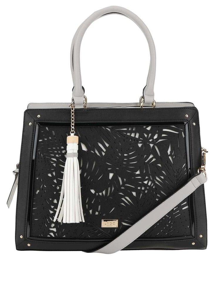 Bílo-černá perforovaná kabelka s třásní LYDC