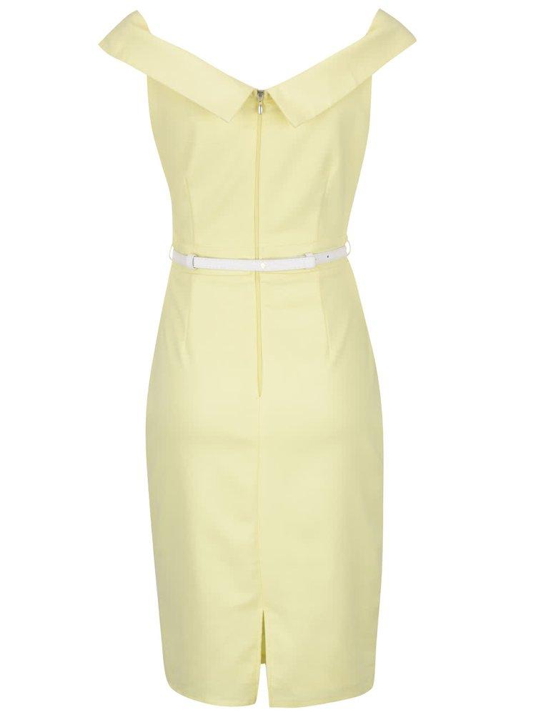 Světle žluté šaty s páskem v krémové barvě Paper Dolls