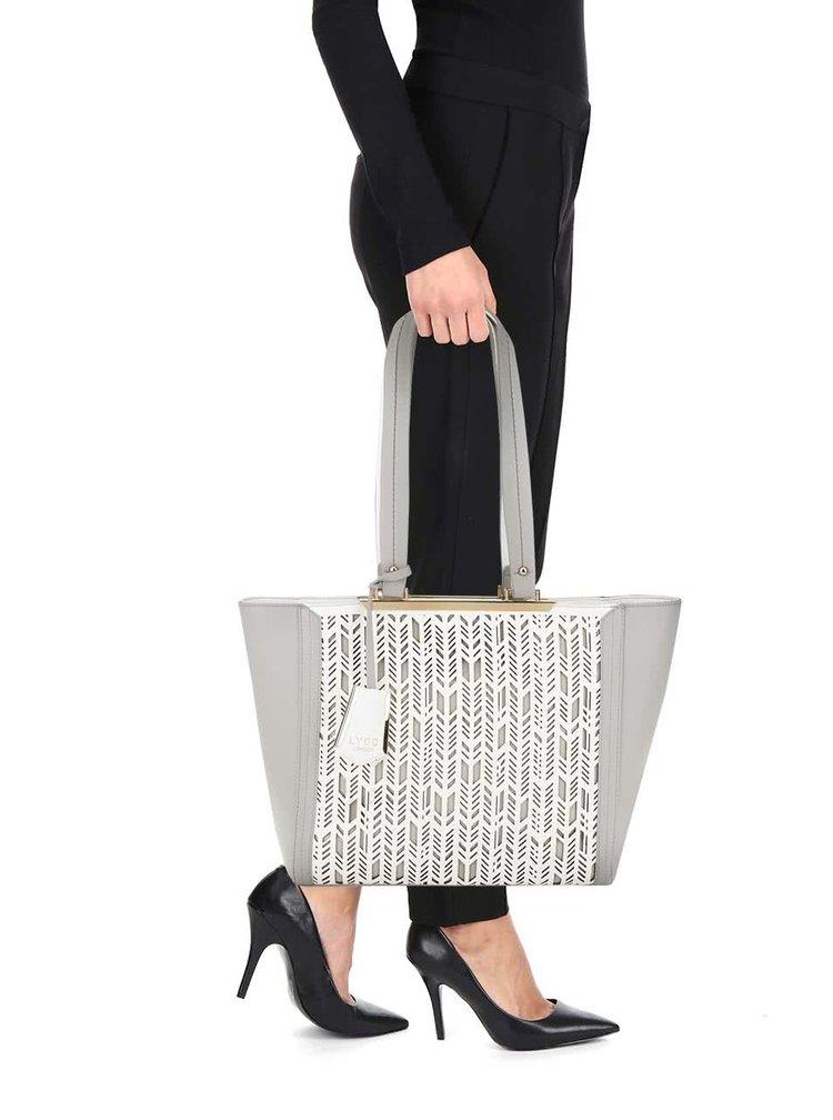 Bílo-šedá perforovaná kabelka LYDC