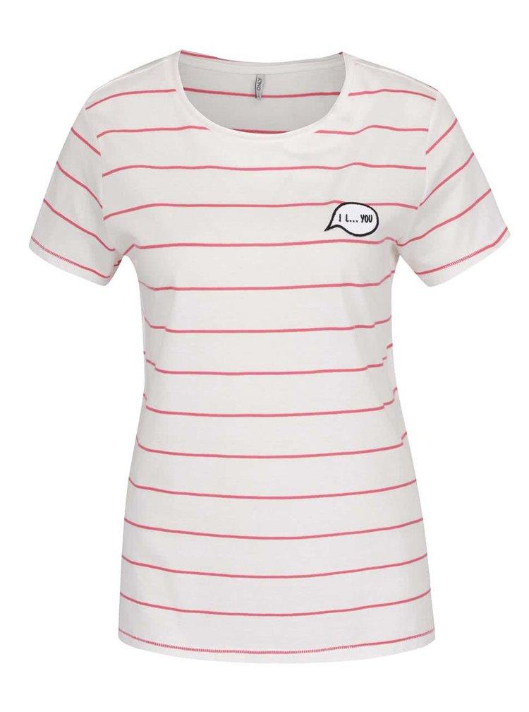 Tricou crem&roz ONLY Sara cu model în dungi