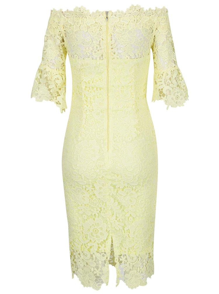 Žluté krajkové šaty s lodičkovým výstřihem Little Mistress