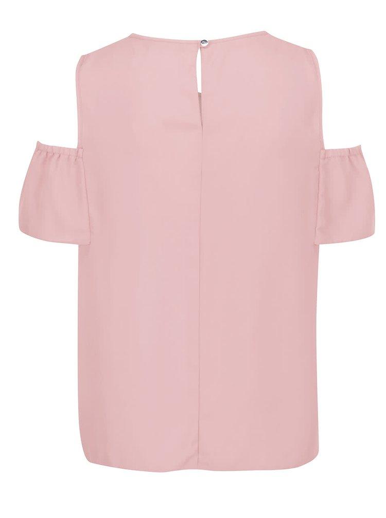 Světle růžová halenka s průstřihy na ramenou Dorothy Perkins Petite