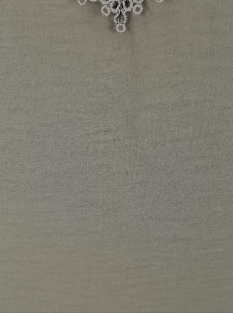 Khaki volné tílko s krajkou v dekoltu VILA Melli