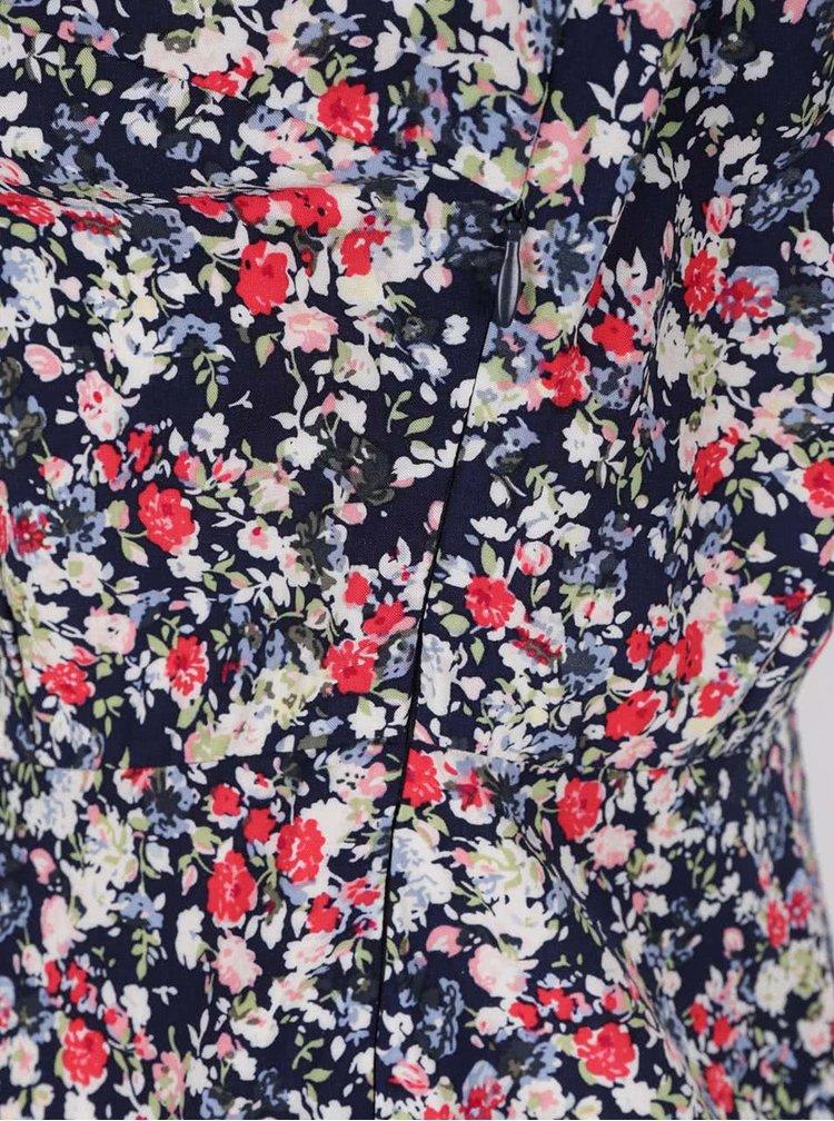 Tmavě modré květované šaty s límečkem ONLY Lemon