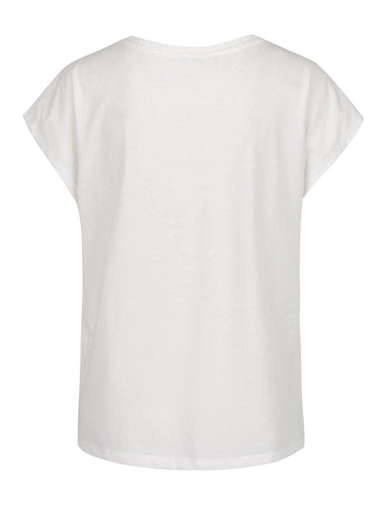 Krémové volné tričko se vzorovanou kapsou VILA Uran